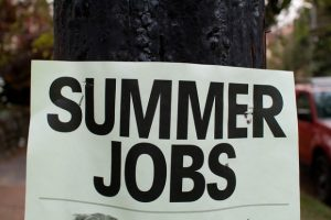 A sign that reads: Summer Jobs