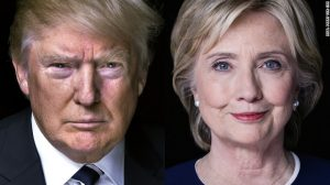 A side-by-side picture of Hillary Clinton and Donald Trump