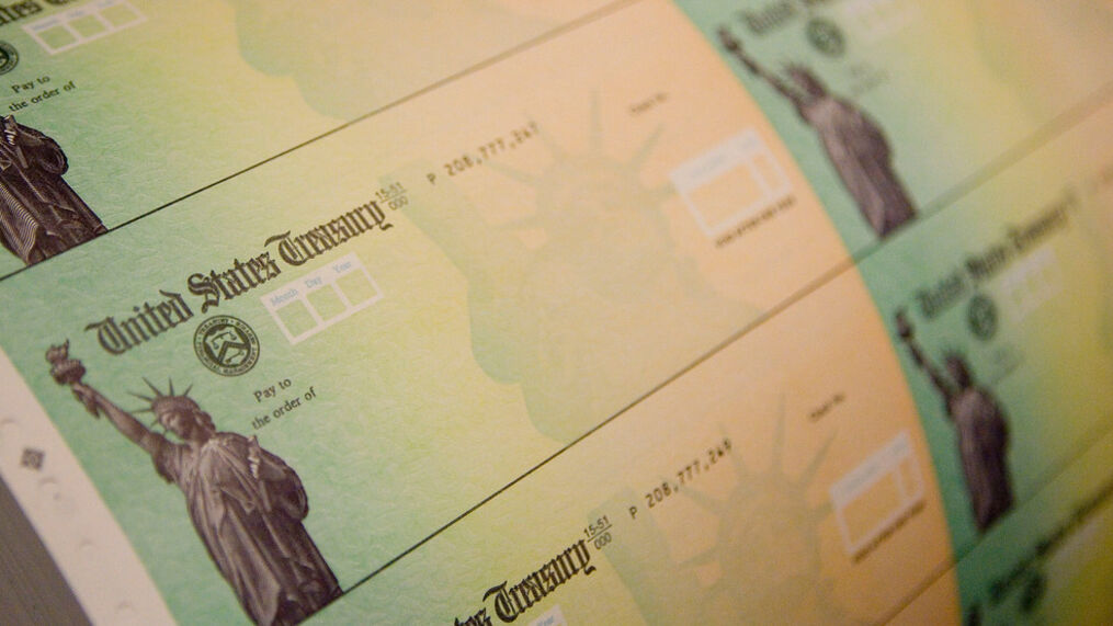 A Photo of Blank Treasury Department Checks.